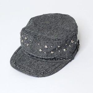 Accessories - Scala Pronto Black & White Cabbie Newsboy Hat Cap